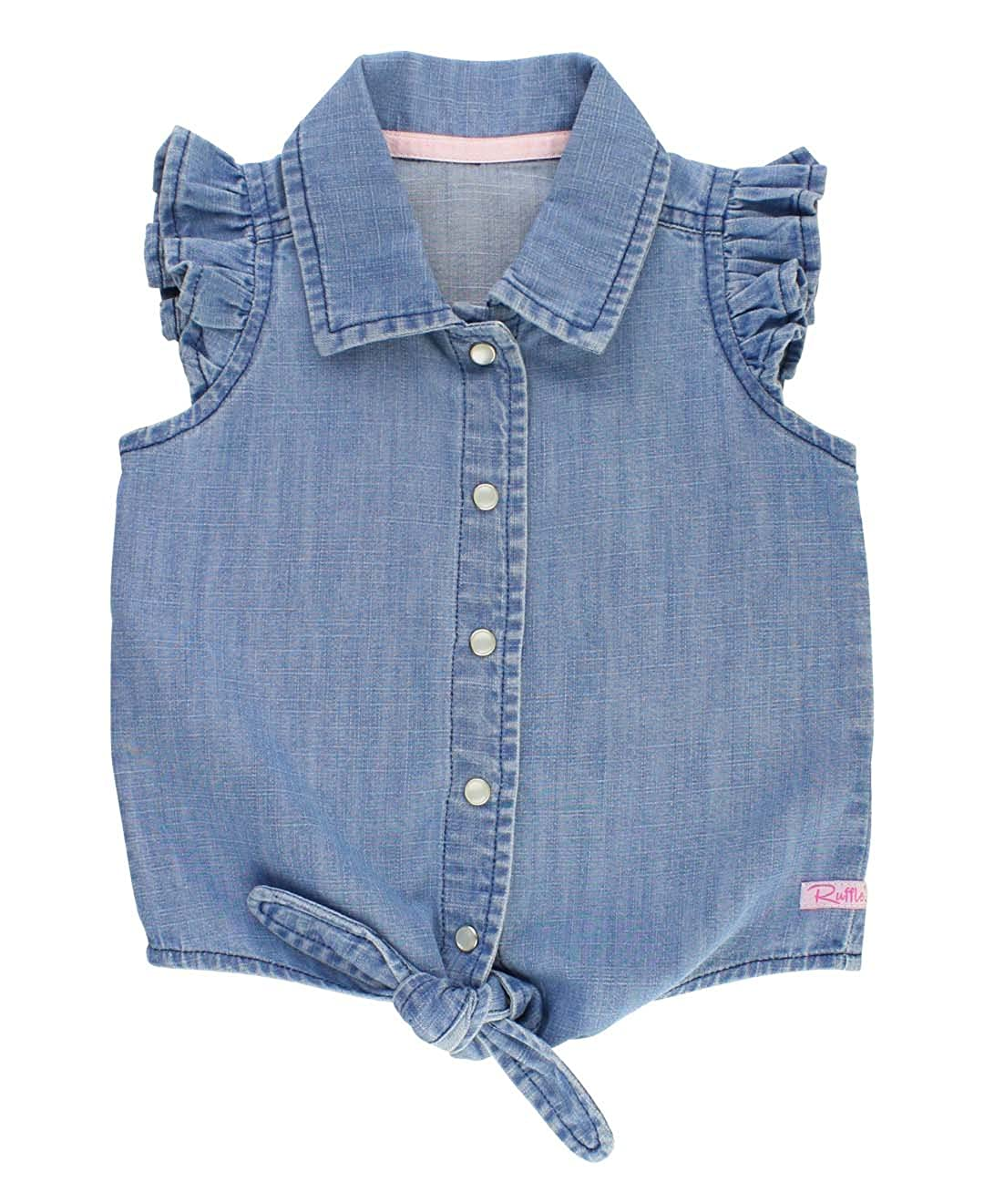 RuffleButts Little Girls Denim Flutter Sleeve Top w/Waist Tie TTDLWXX-TF00-TDLR