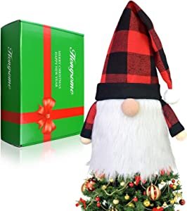 Hongsome Gnome Christmas Tree Topper Plaid Hat,23.6Inch Large Xmas Santa Scandinavian Gnomes Plush Swedish Tomte Decoration,Christmas Tree Toppers for Holiday Home Décor Toy Red&Black