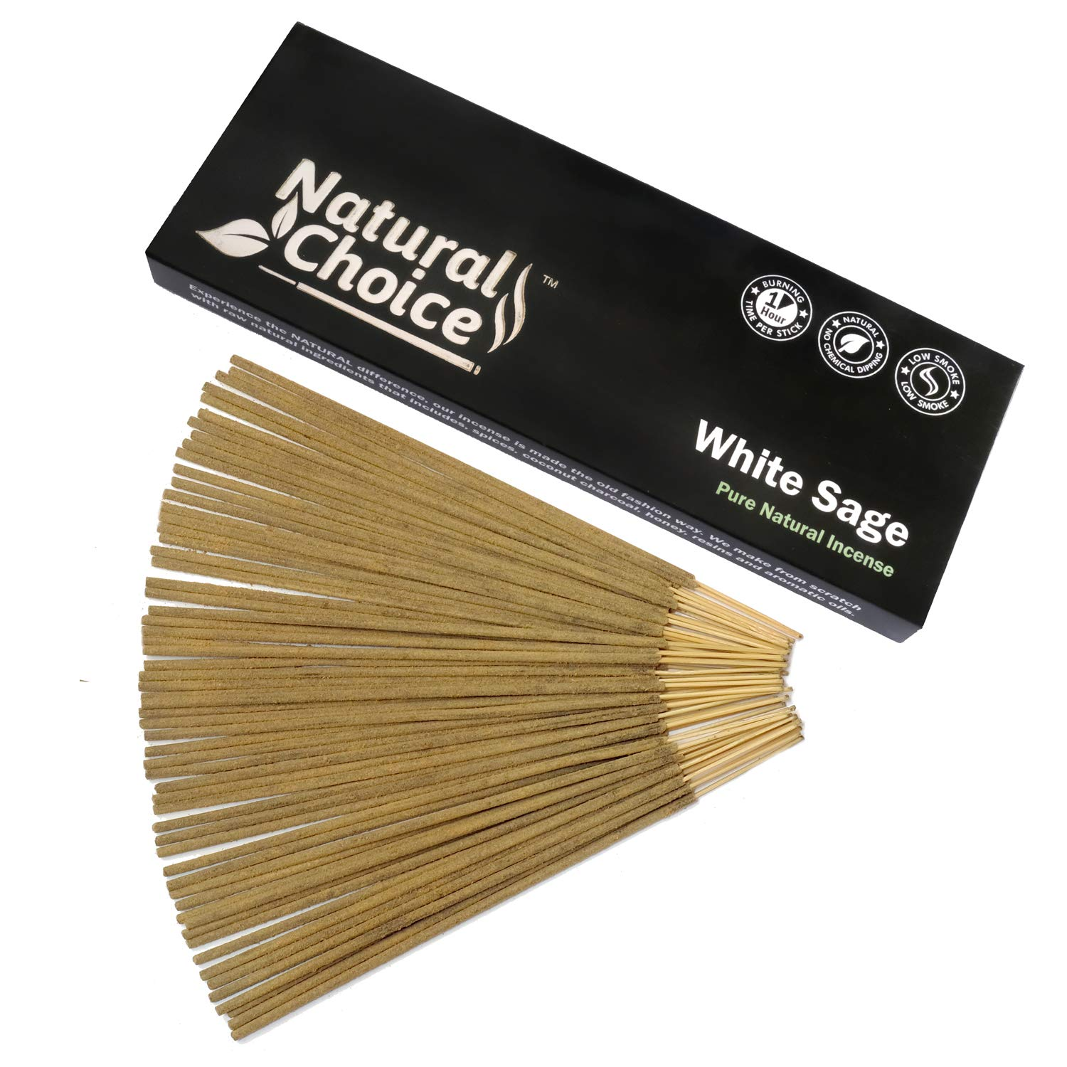 Natural Choice Incense White Sage Incense Sticks 100 Grams, Low Smoke Traditional Incense Sticks Made from Scratch, Never Dipped by Natural Choice Incense (Image #1)