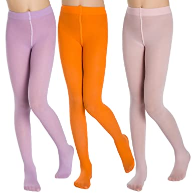 8dc912a081a2 Aaronano 3 Pairs Girl s Ballet Dance Stockings Footed Tights 40 ...