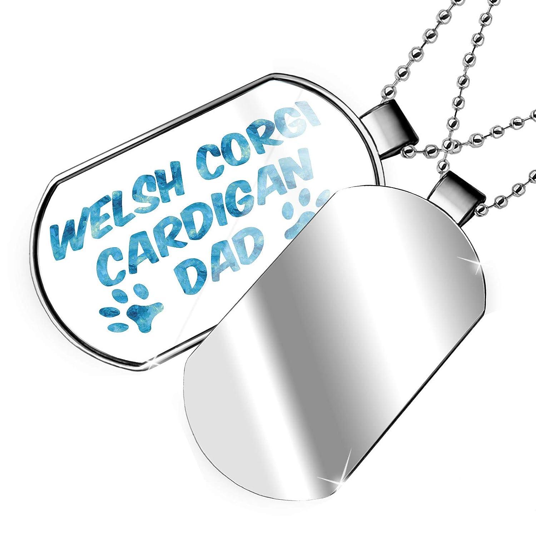 NEONBLOND Personalized Name Engraved Dog /& Cat Dad Welsh Corgi Cardigan Dogtag Necklace