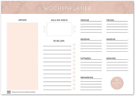 Tischunterlage aus Papier zum Abrei/ßen DIN A3 to Do Liste Notizblock Wochenplaner Design w/ählbar TYSK Design Schreibtischunterlage Mint