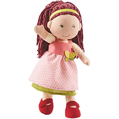 "HABA Mona 12"" Soft Doll with Auburn Hair, Green Eyes and Embroidered Face for Ages 18 Months and Up: Toys & Games"