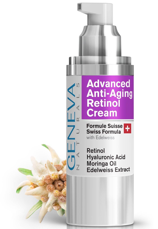 Night Retinol Cream - Natural Swiss Anti-Aging Formula Features Retinol, Hyaluronic Acid, Coconut Oil, Moringa Oil, Vitamin E For Men & Women - 1oz Geneva Naturals