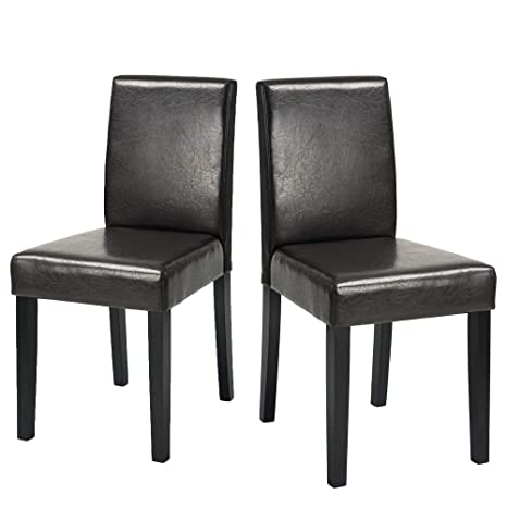 FurnitureR Set of 2 Dining Chairs Wooden Frame PU Leather Cover Kitchen  Chair Home,Office (Black)