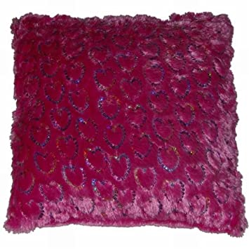 Brunton Faux Fur Hot Pink Throw Pillow Colorful Sequin Heart Accent Toss  Cushion