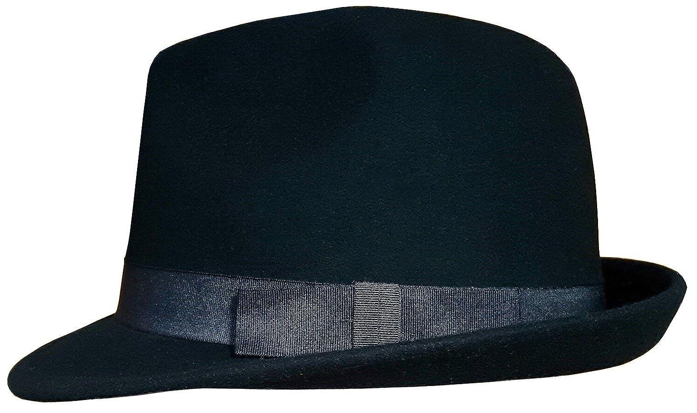Mens or Womens Trilby Hat 100/% Wool Felt with Grosgrain Band Fedora Hat 57-59cm