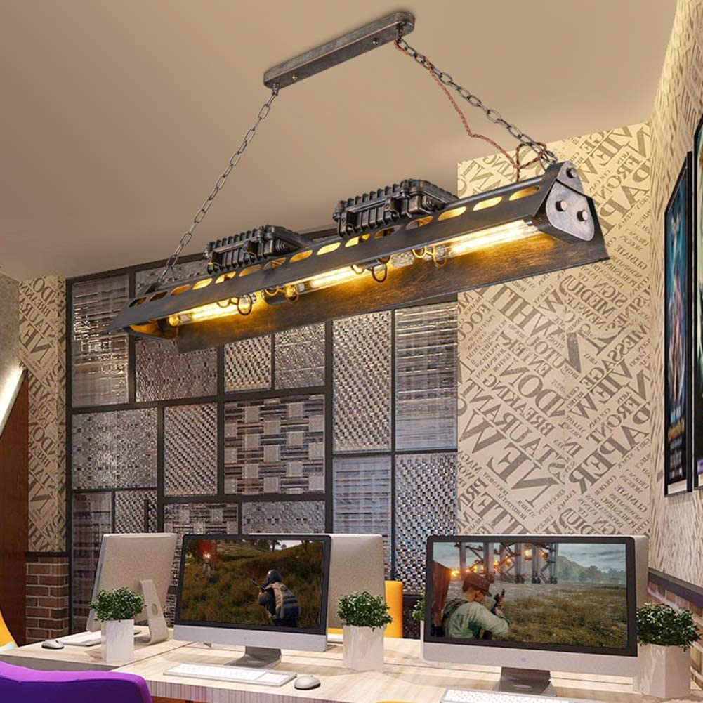 Size : 6 Lamps Antique Rouille Lustre Industriel Vintage M/étal Steampunk Pendentif Lumi/ères Restaurant Cuisine Bar V/êtements Magasin Edison E27 /Éclairage