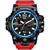 IBANSE Men's Military Sport Digital Waterproof Watch Dual Electronic Quartz Movement Green Band Back Light