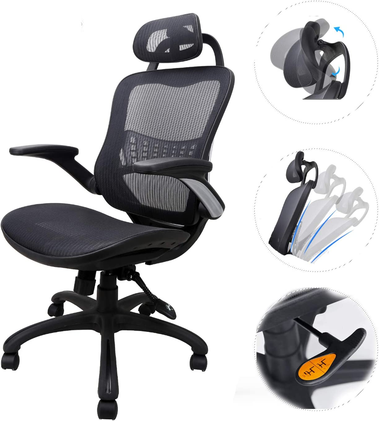 Ergonomic Chair with Headrest and Lumbar Support High Back Adjustable Mesh  Chair Executive, Drafting, Gaming Computer or Office Chair (Black) (39.39 x