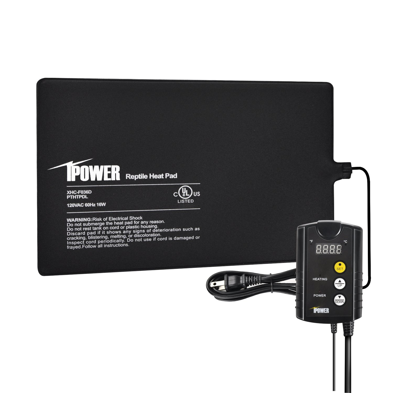 iPower 8''x12'' Under Tank Heat pad and Digital Thermostat Combo Set for Reptiles by iPower