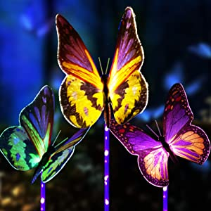 Upgraded Outdoor Solar Garden Lights - 3 Pack Solar Butterfly Decoration Lights - Color Changing LED Waterproof Solar Stake Lights for Garden, Patio, Yard, Lawn, Walkway Decoration
