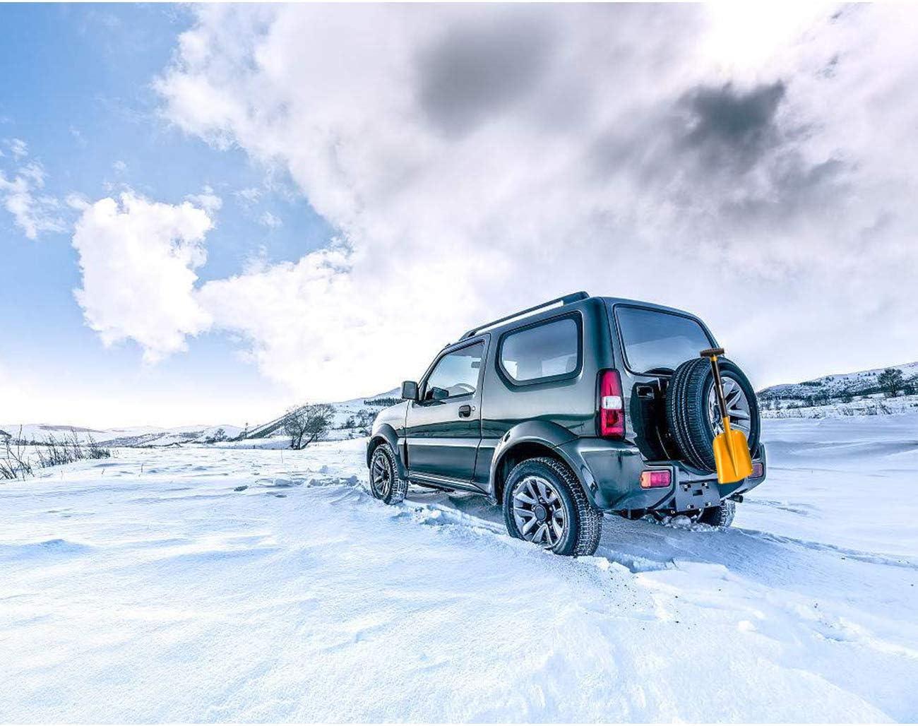 Overmont Pale da Neve Portatile Staccabile con Pala Piccolo per Rimozione Neve per Auto Borsa da Trasporto in Lega di Alluminio Manico PP Tre Colori