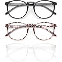 IBOANN 3 Pack Blue Light Blocking Glasses Women/Men, Round Fashion Retro Frame, Vintage Fake Eyeglasses with Clear Lens