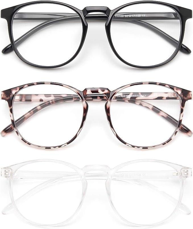 IBOANN 3 Pack Blue Light Blocking Glasses Women/Men, Round Fashion Retro Frame, Vintage Fake Eyeglasses with Clear Lens   Amazon
