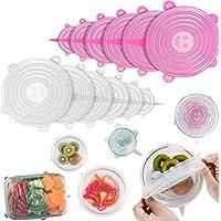 12 stuks stretchy food deksels, herbruikbare siliconen stretch deksel voor levensmiddelen, schalen, containers, glazen…