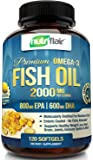 NutriFlair Omega 3 Fish Oil Supplement - Enteric Coating - Burpless, No Fishy Aftertaste - Triple Strength EPA 800mg + DHA 600mg, Easy to Swallow - Joint, Heart and Brain Health Formula