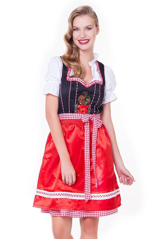 Alpenmärchen, 3tlg. Dirndl-Set - Trachtenkleid, Bluse, Schürze, Gr.32-60, schwarz-rot, ALM3090