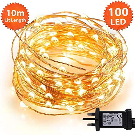 Ansio Copper Wire Christmas Fairy Lights 100 Micro Led 10 M Warm White Indoor Festive Wedding Bedroom Novelty Decorations Tree String Lights Mains
