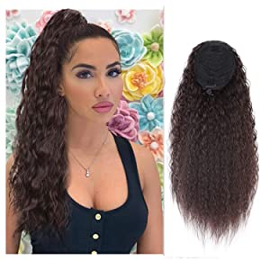 AISI BEAUTY 22 Inch Long Curly Wavy Ponytail Extension Synthetic Curly Ponytail Clip in Drawstring Ponytail Extensions for Women Natural Ponytail Drawstring Hair Hairpieces