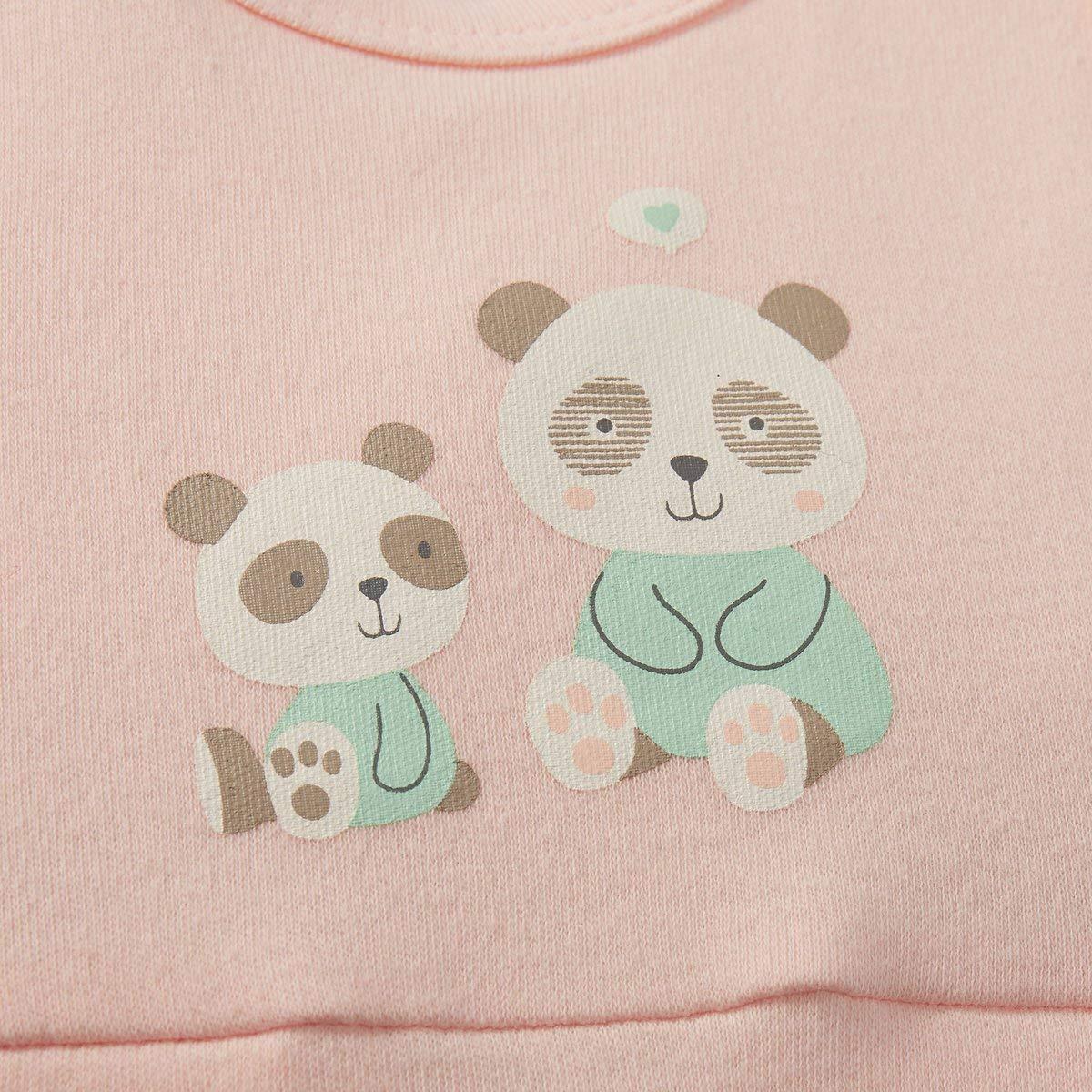- gepunktetes Langarmshirt /& rosafarbener Strampelanzug mit gepunkteten Falten am Saum /& F/ü/ßchen 2-TLG. Bornino Strampler-Set Panda Offwhite//rosa