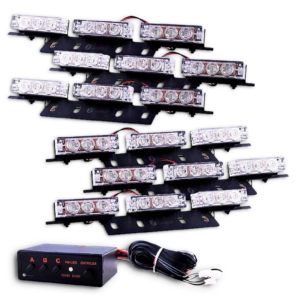 Zone Tech Blue Red 54X LED Police Vehicle Deck Grille Strobe Warning Lights - 1 set Comfort Wheels es0008-