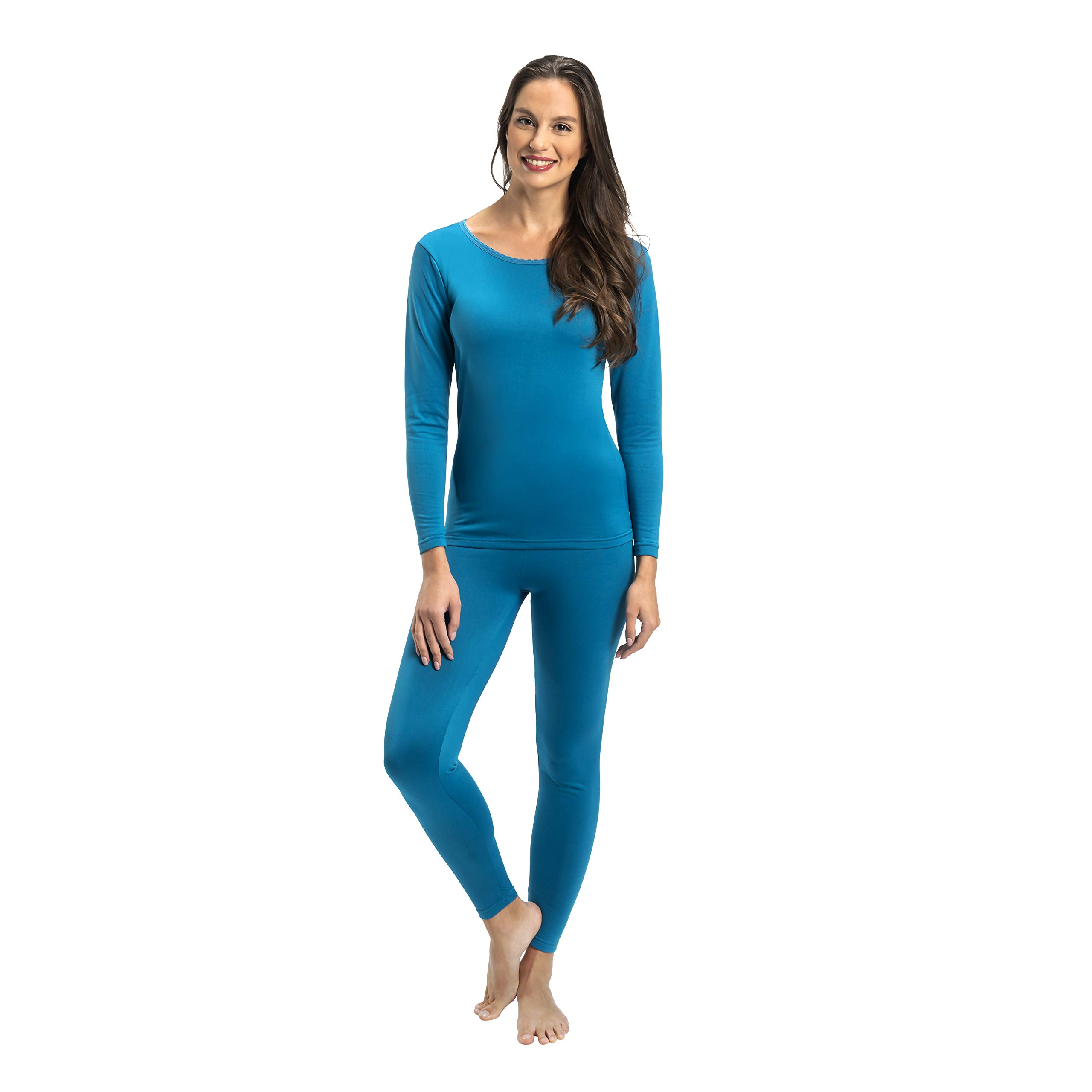 Rocky Womens Thermal 2 Pc Long John Underwear Set Top and Bottom Smooth Knit (Large, Teal) by Rocky