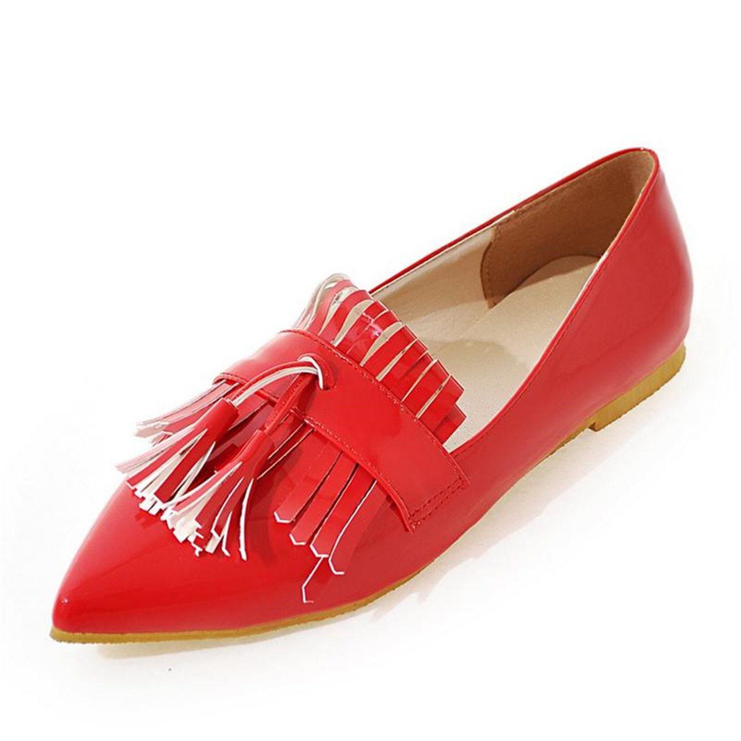 Baqijian Female Patent Leather Shoes Summer Tassel Bowtie Buckle Flats Women Shoes Pointed Toe Female Flats S364