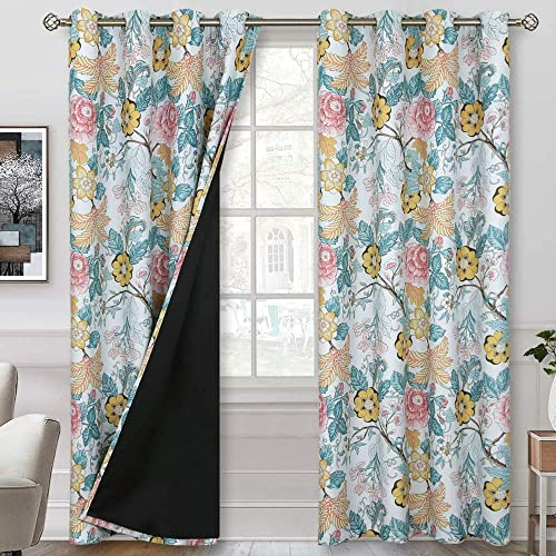 BGment 100 Blackout Curtains for Bedroom with Black Liner, Thermal Insulated Lined Noise Reducing Grommet Curtains for Living Room, Floral Patterns on White Base, 46 X 90 inch, 2 Panels