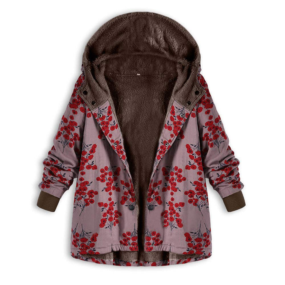 HOMEBABY Womens Winter Warm Floral Print Parka Classic Jacket Fluffy Fleece Zipper Pockets Coat Casual Ladies Thick Long Sleeve Faux Fur Warm-up Cardigan Outwear