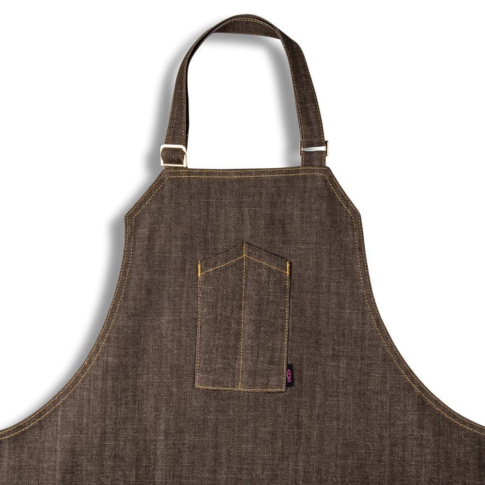 ブラウンApron withゴールド色付きダブルステッチ – Honey Brown – シェフエプロン、Chef Angelo Sosa   B07D8D2FFM