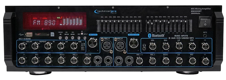 Technical Pro MM2000BT Powered Bluetooth Karaoke Mixer Amplifier Amp SD, USB MM2000BT KAR