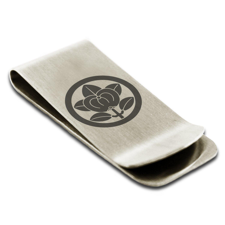 Stainless Steel Encircled Mandarin Kamon Crest Engraved Money Clip Credit Card Holder