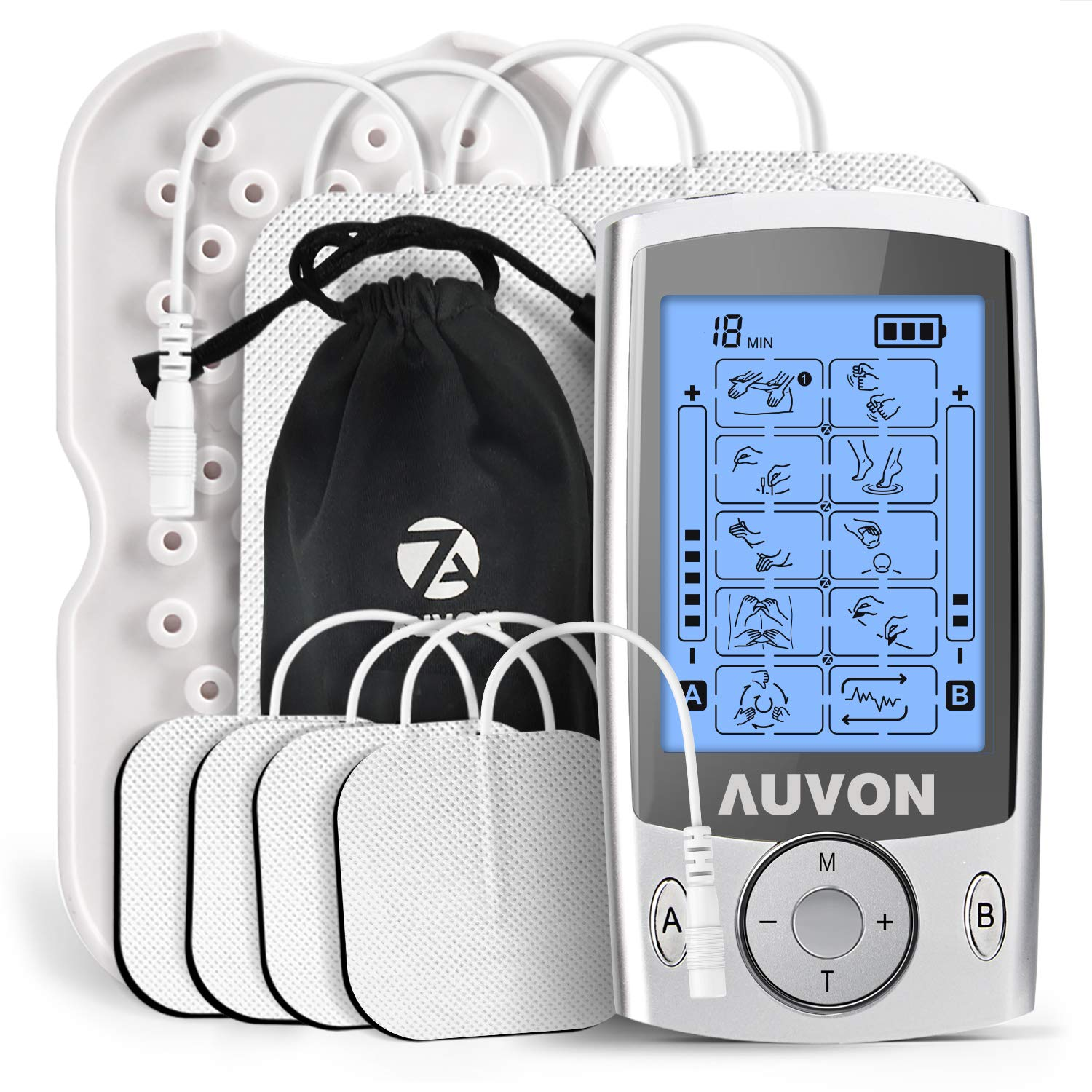 AUVON Dual Channel TENS Unit Muscle Stimulator Machine with 20 Modes, 2'' and 2''x4'' TENS Unit Electrode Pads (FDA Cleared)