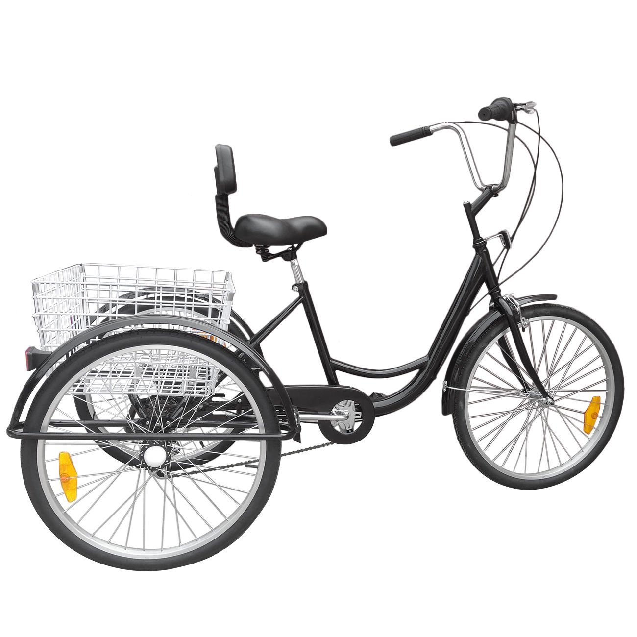 New 24'' 3-Wheel Unisex Adult Tricycle 6-Speed Bicycle W/ Basket -durable Fun safe black,popular