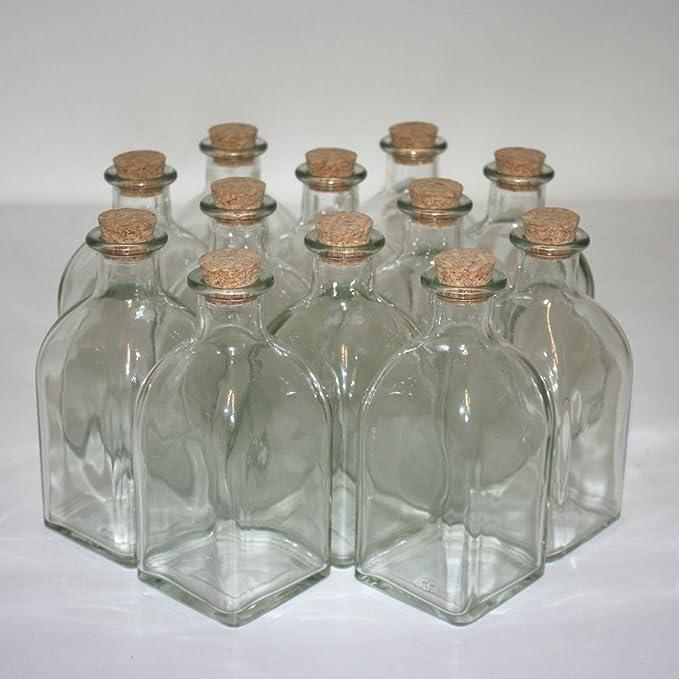 12 botellas de cristal (con tapón de corcho con 250 ml Volumen ...
