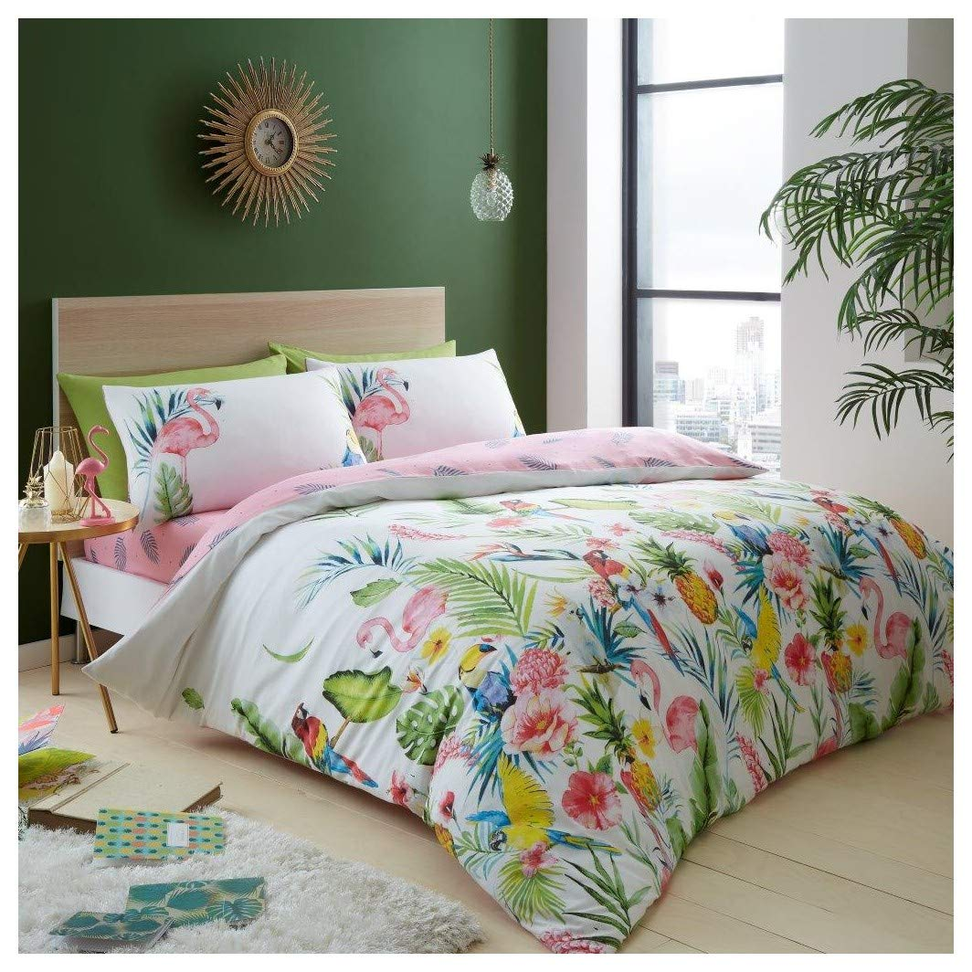 Catherine Lansfield Cactus Duvet Cover Bedding Bed Set Reversible Green