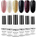 TOMICCA Glitter Gel Polish for Nail Art Manicure Pedicure, UV LED Soak Off, Valentine Day Gift