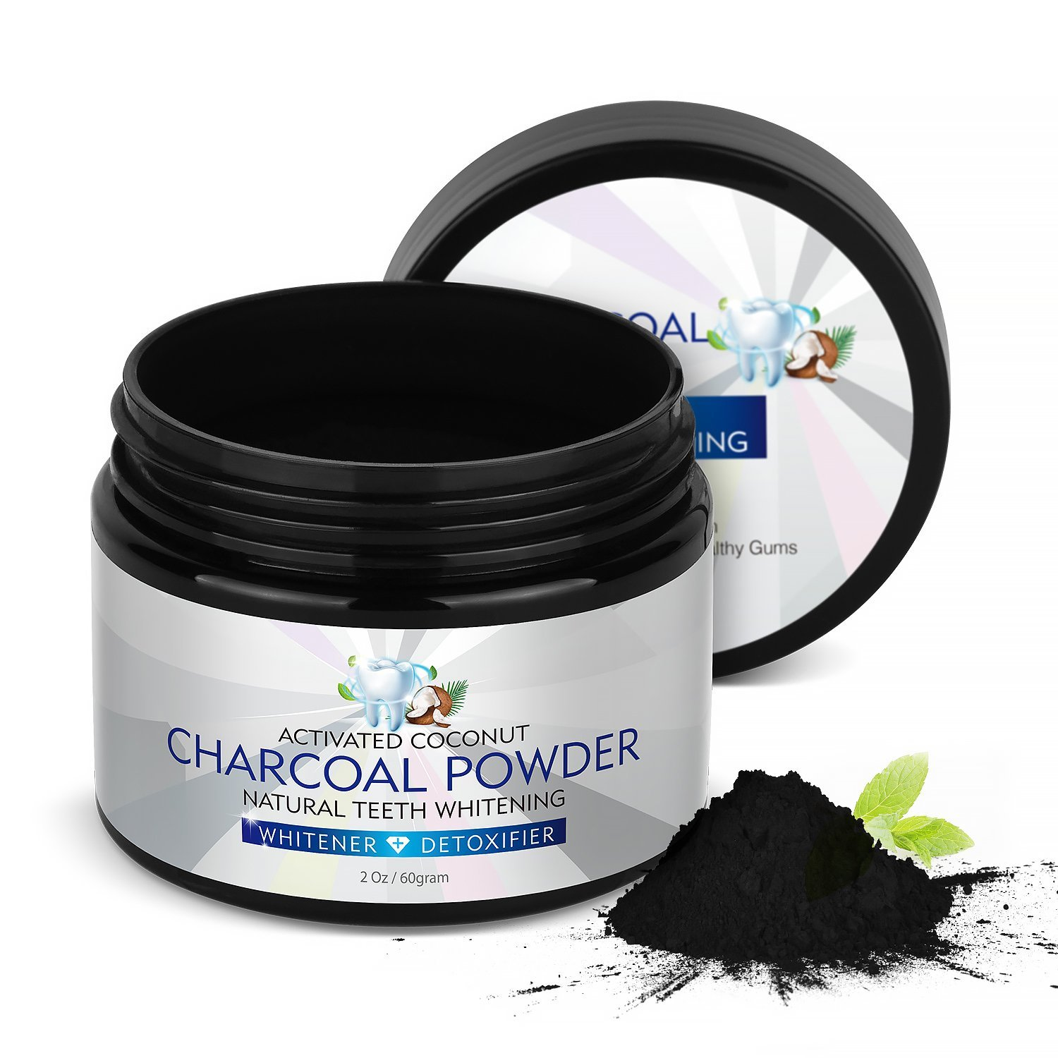 Teeth Whitening Charcoal Powder,Natural Charcoal Activated Charcoal Teeth Whitener Powder Organic Coconut Charcoal Toothpaste 2Oz