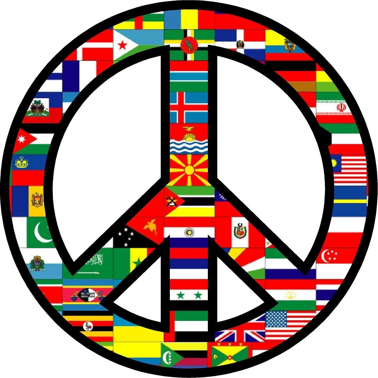 """ProSticker 2115 (One) 4"""" Harmony Series World Peace Flags Decal Sticker"""