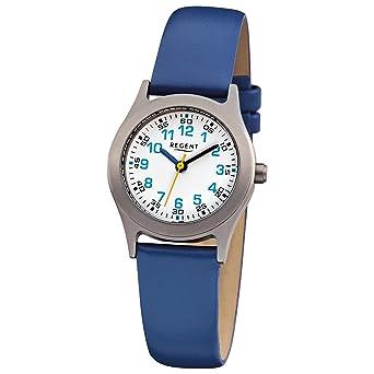 Armbanduhr kinder blau  Regent Kinder-Armbanduhr Elegant Analog Leder-Armband blau Quarz ...