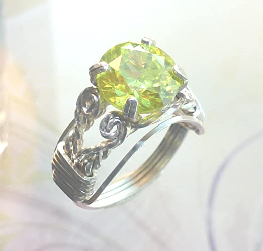 Amazoncom Peridot Ring Wire Wrapped Jewelry Handmade in Silver