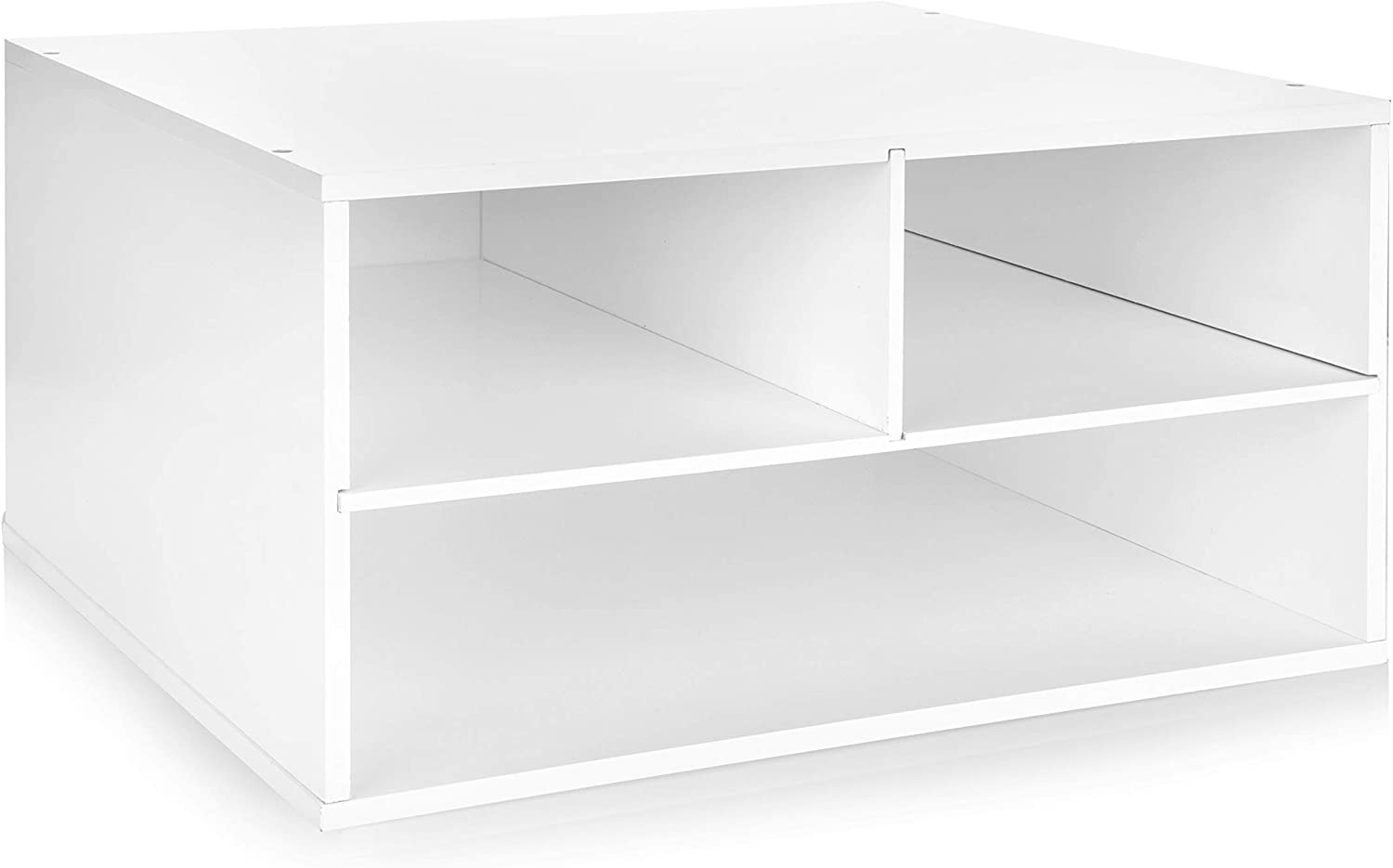 JulieHome Wood Two-Tier Printer Fax Stands Shelf Paper Organizer for Home Office,White
