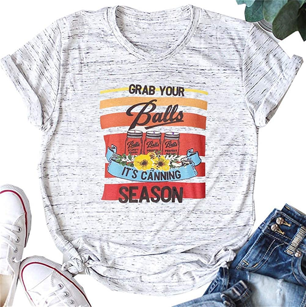 Women Cute Graphic Shirts Grab Your Balls T Shirt Casual Short Sleeve Tees Summer Tops