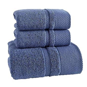 LOF-fei Juego de 3 Toallas 100% algodón Gruesa Hotel para Adultos Hombres y Mujeres Pareja Suave y Muy Absorbente,Azul: Amazon.es: Hogar