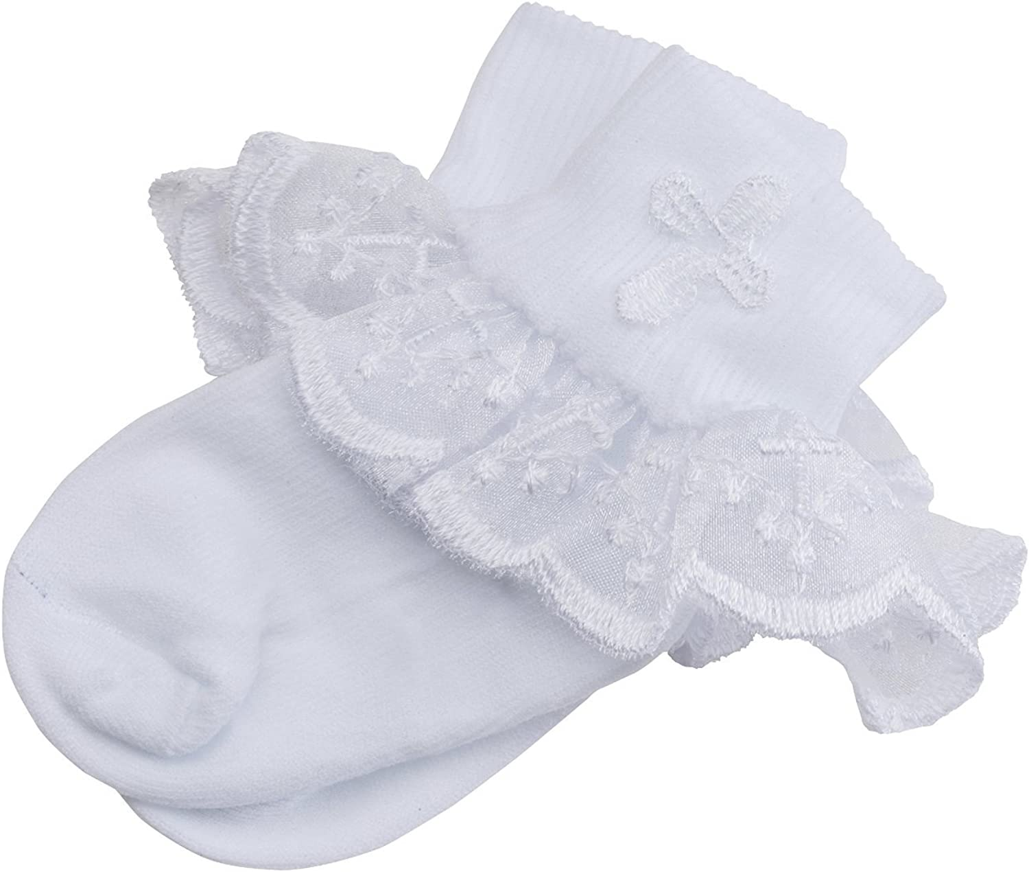 Baptism Lace Trim Socks White Ivory Embroidered Cross Baby Infant Christening