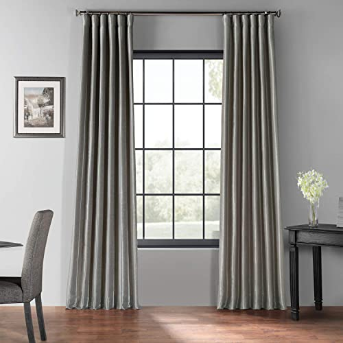 HPD Half Price Drapes PDCH-KBS9BO-108 Blackout Vintage Textured Faux Dupioni Curtain 1 Panel , 50 X 108, Silver
