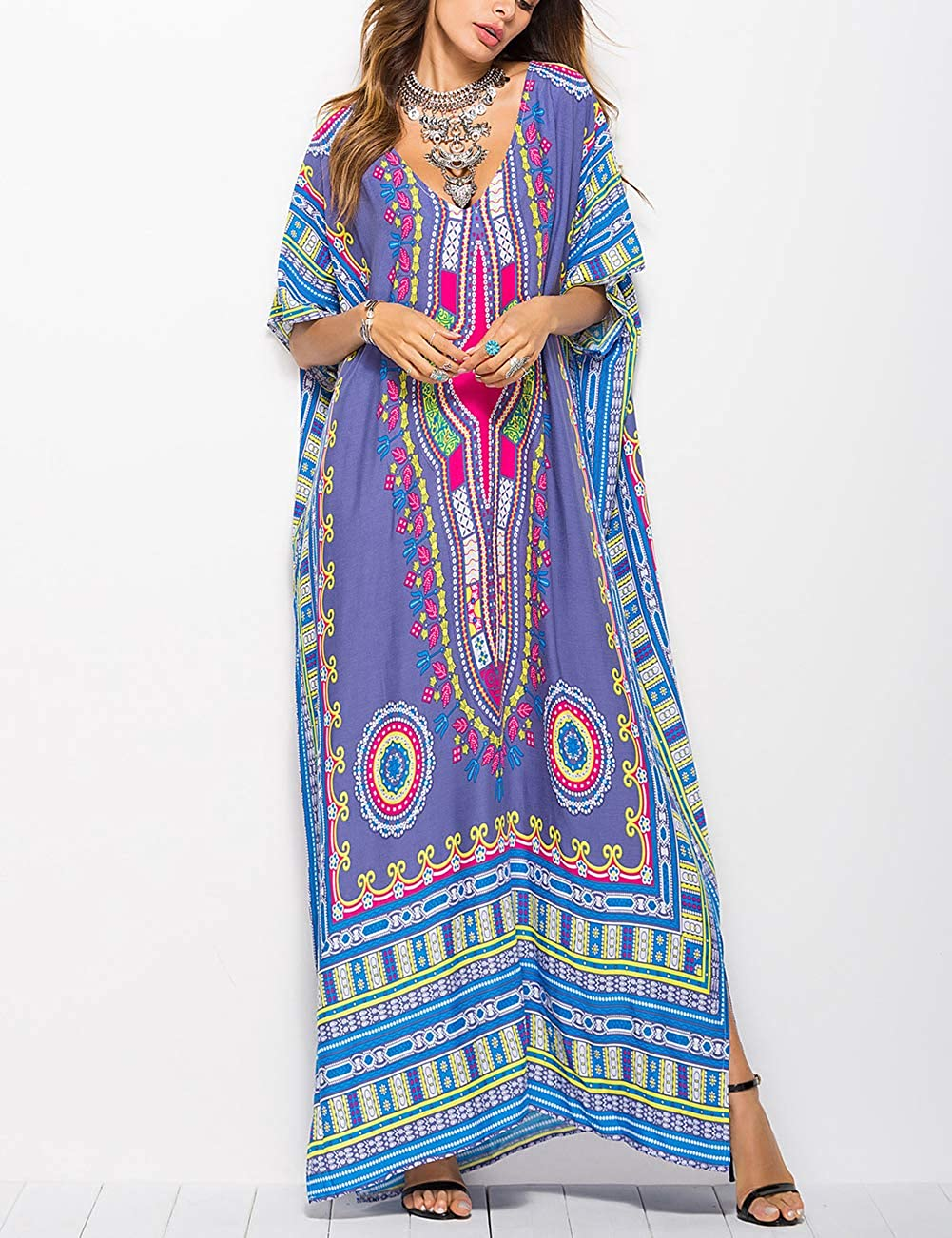 70s Outfits – 70s Style Ideas for Women Bsubseach Women Bathing Suits Cover Up Ethnic Print Kaftan Beach Maxi Dress $19.99 AT vintagedancer.com