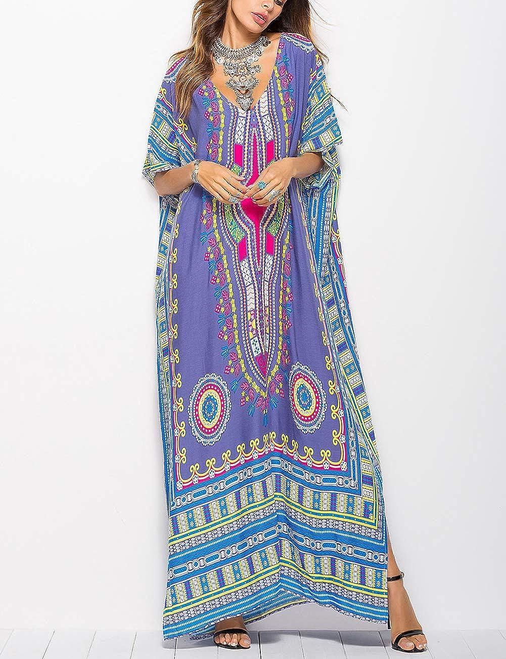70s Dresses – Disco Dress, Hippie Dress, Wrap Dress Bsubseach Women Bathing Suits Cover Up Ethnic Print Kaftan Beach Maxi Dress $19.99 AT vintagedancer.com