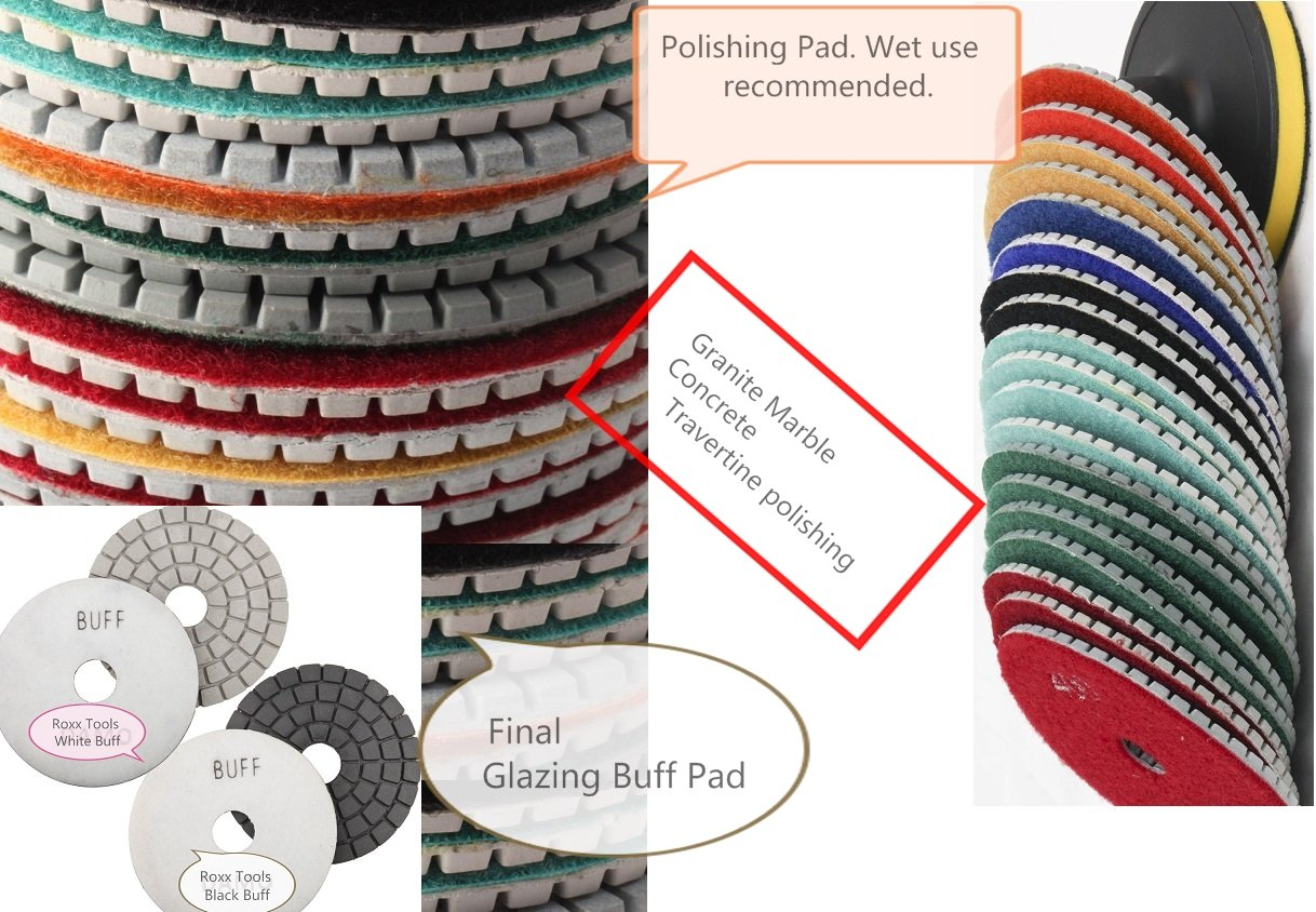 4'' Granite Diamond Polishing Pads 21 Pieces 2 Final Glazing Buff (mirror like polished result) + Backer Pad Concrete Marble Travertine Terrazzo Engineer Stone counter top floor renew galss ceramics